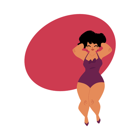 Pretty plump, plus size Caucasian curvy woman, girl in swimming suit, top view cartoon vector illustration with space for text. Top view portrait of pretty plump woman in swimming suit