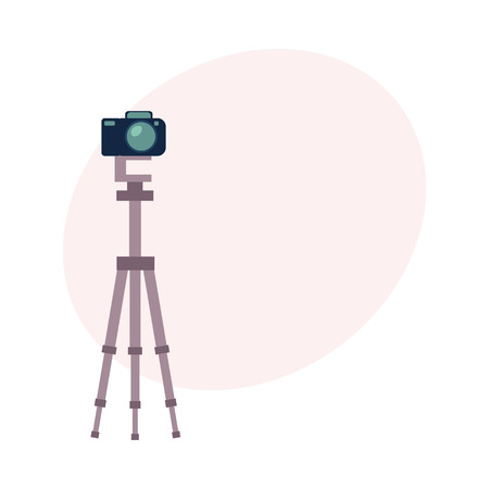 Professional photo studio equipment - camera, cartoon vector illustration with space for text. Set of cartoon style professional photo, photographer studio equipment Иллюстрация