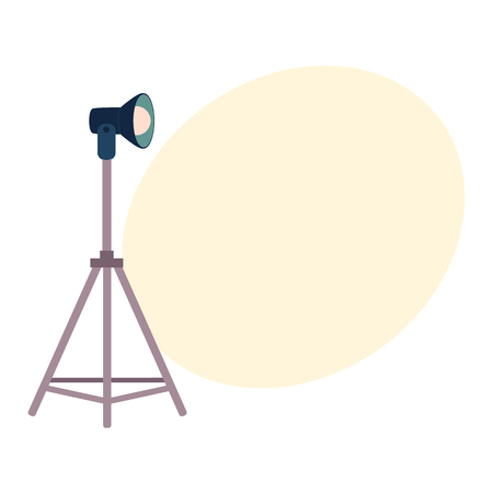 Professional photo studio equipment set - tripods, flash, cartoon vector illustration with space for text. Set of cartoon style professional photo, photographer studio equipment Stock Vector - 84354744