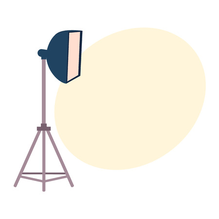 Professional photo studio equipment set - tripods, flash, strobe light, cartoon vector illustration with space for text. Set of cartoon style professional photo, photographer studio equipment