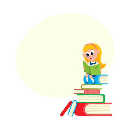 Little girl reading, sitting on huge pile, stack of books, cartoon vector illustration isolated on white background with speech bubble