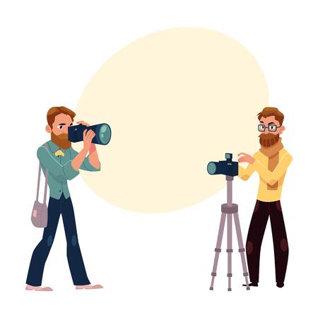 仕事と機材、テキスト用のスペースと漫画ベクトル図でカメラマンのセットです。  イラスト・ベクター素材