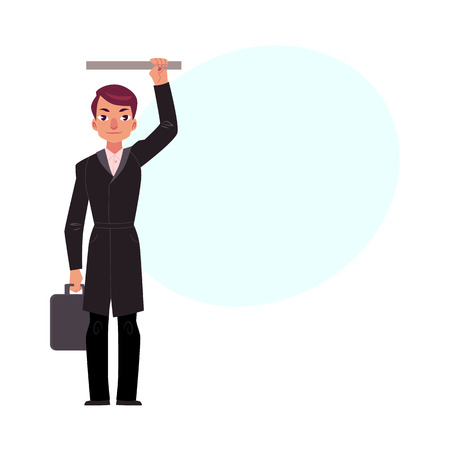 Businessman holding briefcase in subway, standing and holding handrail, cartoon vector illustration with space for text. Full length portrait of businessman, business man in subway, bus