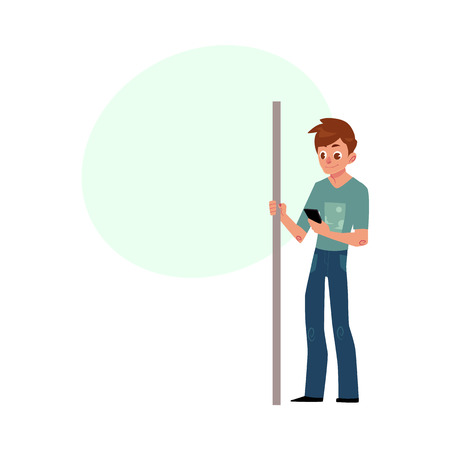 Young man, student, teenager travelling by subway, standing, holding handrail, using phone, cartoon vector illustration with space for text. Full length portrait of young man in subway, bus