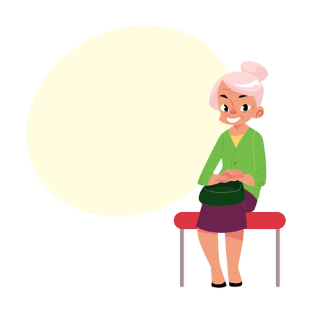 Elegant grey haired woman, old lady sitting in subway, bus, cartoon vector illustration with space for text. Full length portrait of old lady, woman in subway, bus sitting with hands on knees Иллюстрация