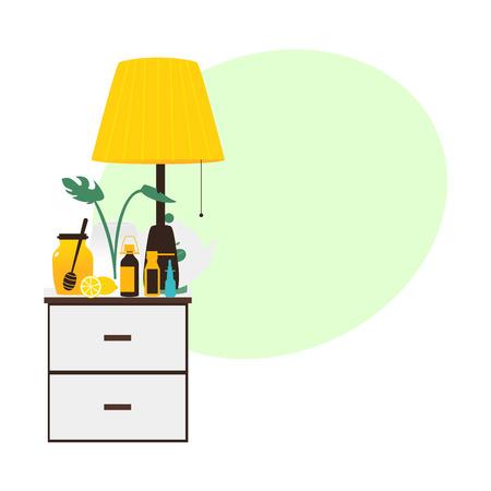 Bedside table with flu medicine bottles, lamp, honey, lemon standing on it, flat vector illustration isolated on white background. Bedside table with flu medicine bottles, lamp, vase, honey lemon tea Illustration