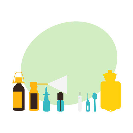 Set van griep, verkoudheid, griep behandeling objecten, elementen, platte vectorillustratie geïsoleerd op een witte achtergrond. Verzameling van vlakke stijl griep, koude, griep thema ontwerpelementen, objecten, pillen