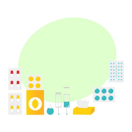 Set van griep, verkoudheid, griep behandeling objecten, elementen, platte vectorillustratie geïsoleerd op een witte achtergrond. Verzameling van vlakke stijl griep, koude, griep thema ontwerpelementen, objecten, pillen Stockfoto - 84354784