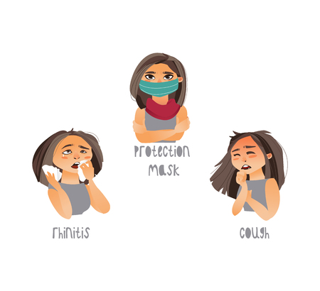 Vector young sick girls set suffering from different disease symptoms cough rhinitis. One girl wears protection mask, scarf. Flat isolated illustration on a white background. Illness symptoms concept