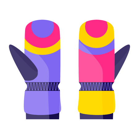 Pair of skiing, snowboarding gloves, winter sport clothing, flat style vector illustration isolated on white background. Flat vector skiing, snowboarding, winter sport gloves, mittens Ilustrace