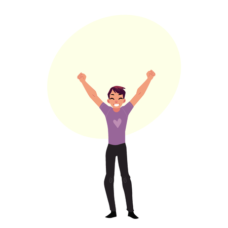 Young man, boy, guy, rejoicing, cheering, jumping in happiness and excitement, cartoon vector illustration with bubble speech. Full length portrait of happy rejoicing young man