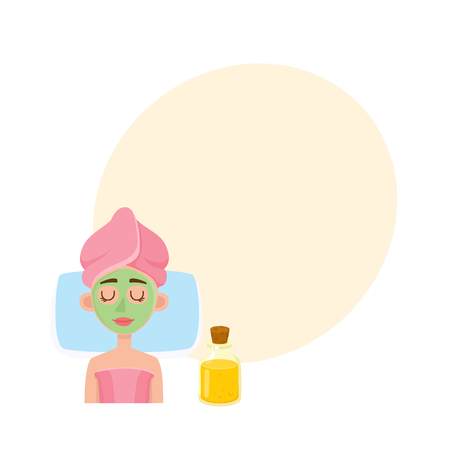 Cosmetician applying cream, mask on young woman face in spa salon, top view cartoon vector illustration with space for text. Top view picture of woman getting facial mask in spa, cosmetic procedure Ilustração
