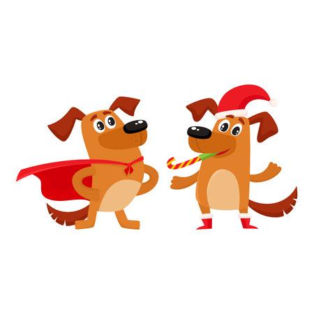 Due simpatici personaggi cane marrone, uno con cappello di Natale e stivali, un altro in capo del supereroe, fumetto illustrazione vettoriale isolato su sfondo bianco. Coppia di personaggi divertenti in abiti stravaganti Archivio Fotografico - 84354815