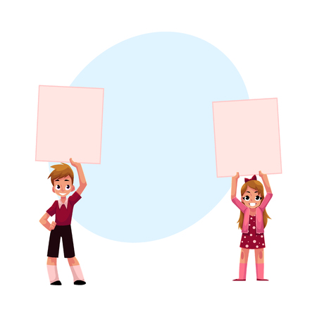 Two kids holding blank empty posters over head, cartoon vector illustration with space for text. Two little kids, children holding empty, blank posters, boards