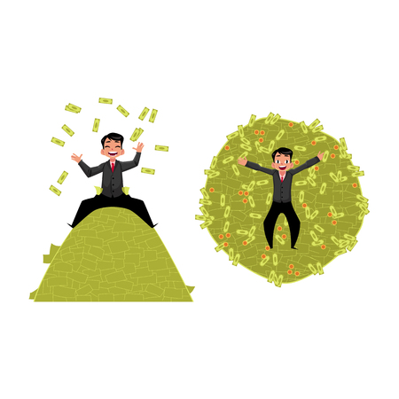 lay: vector office worker lying , sitting on money pile set. Flat cartoon isolated illustration on a white background. Happy smiling man character. Money success profit and richness concept