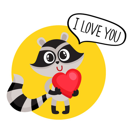 Cute raccoon character holding big red heart, saying I Love You, cartoon vector illustration isolated on white background. Sticker with funny little raccoon with big red heart, symbol of love Ilustração