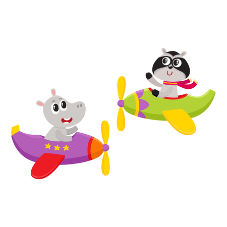 Cute funny animal pilot characters flying on airplane - hippo and raccoon, cartoon vector illustration isolated on white background. Little baby hippo and raccoon characters flying on airplane Illusztráció