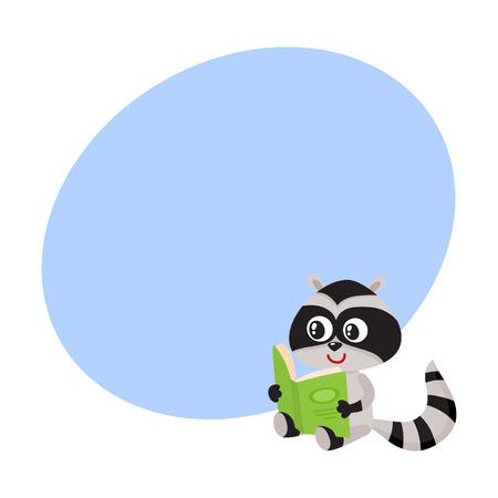 Leuk weinig karakter die van de wasbeerstudent een interessant boek, beeldverhaal vectorillustratie met ruimte voor tekst lezen. Weinig wasbeerstudent die groot boek, terug naar schoolconcept leest