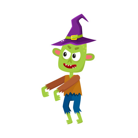 Scary little green zombie monster in pointed witch hat, Halloween costume, cartoon vector illustration isolated on a white background. Monster, zombie in witch hat with arms stretched forward Illustration