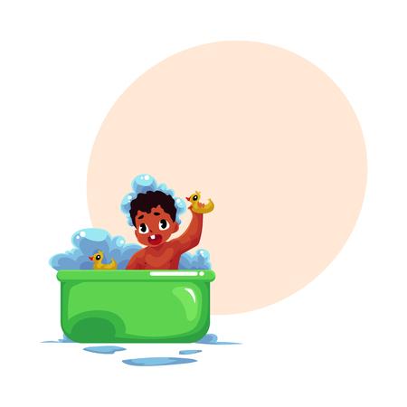 Mignon petit noir, bébé afro-américain, bébé, bain d'enfant avec des canards en caoutchouc, illustration vectorielle de dessin animé avec espace pour le texte. Petite noire, bébé afro-américain prenant un bain de mousse Banque d'images - 84354851