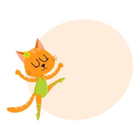 Happy cute cat, kitten character, ballet dancer in pointed shoes and tutu skirt, cartoon vector illustration with space for text. Little cat baby animal, ballet dancer, ballerina in tutu