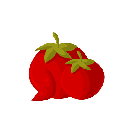 Cartoon style ripe red tomato vegetables, vector illustration isolated on white background. Two cartoon style raw whole red tomato vegetables and slice, farm product Illustration