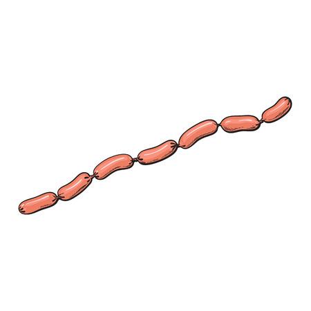 chaîne de saucisses de croquis de vecteur. Bande dessinée illustration isolée sur un fond blanc. Concept de saucisses et de types de viande