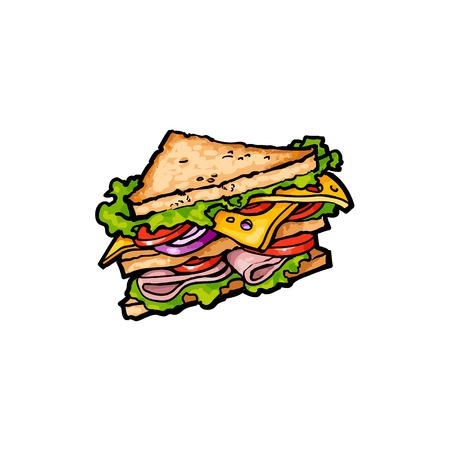 벡터 스케치 야채와 함께 샌드위치입니다. 패스트 푸드 평면 만화 격리 된 그림 흰색 배경에. 치즈, 토마토 및 샐러드가 든 삼각형의 신선한 샌드위치