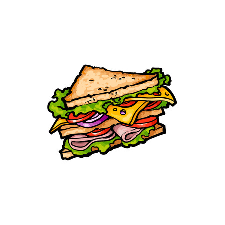 Vector sketch sandwich with vegetables. Fast food flat cartoon isolated illustration on a white background. Triangular fresh sandwich with cheese, tomato and salad Ilustração