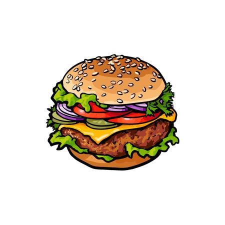 ベクトル ハンバーガー スケッチは手白の背景に描かれた孤立した図です。おいしい新鮮なファーストフード chickenburger、野菜 cheesburger。玉ねぎレタ  イラスト・ベクター素材