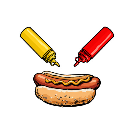 Vector sketch sausage hot dog with mustard sauce, ketchup squeeze bottles set. Fast food hand drawn cartoon isolated illustration on a white background. fresh sandwich with sauce and salad Ilustracja