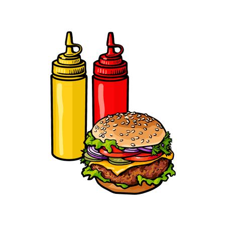 Vector hamburger schets hand getrokken met mosterdsaus, ketchup squeeze flessen set. geïsoleerde illustratie op een witte achtergrond. Lekkere verse fastfood chickenburger, cheesburger met groenten. Stock Illustratie