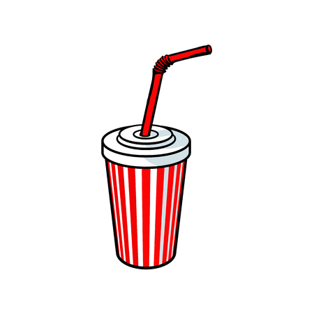 vector sketch hand drawn plastic, paper disposable soft cold drink cup with lid and straw. Isolated illustration on a white background. Cola, soda juice water, beverage cup.
