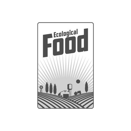 Verticaal landbouwbedrijfembleem, kenteken, etiket met gebied, tractor, huis en watertoren over het opheffen van zonachtergrond, vectorillustratie.