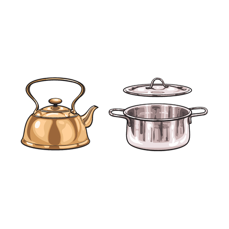vector metal cooking pot, bronze kettle teapot sketch cartoon set. Isolated illustration on a white background. Kitchenware equipment utensil objects concept Illustration