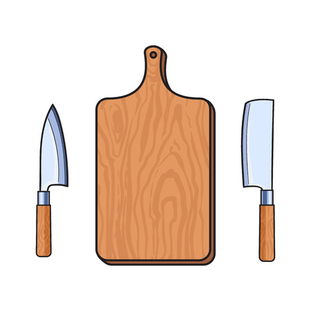 vector wooden sketch cartoon empty kitchen cutting board, meat butcher cleaver, carving knifes set. Isolated illustration on a white background. Kitchenware equipment utensil objects concept Illustration