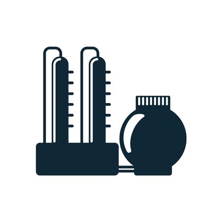 白い背景に分離した石油製油所シンプルなフラット アイコン ピクトグラムをベクトルします。ガス石油燃料、エネルギー電力は、石油業界シンボル