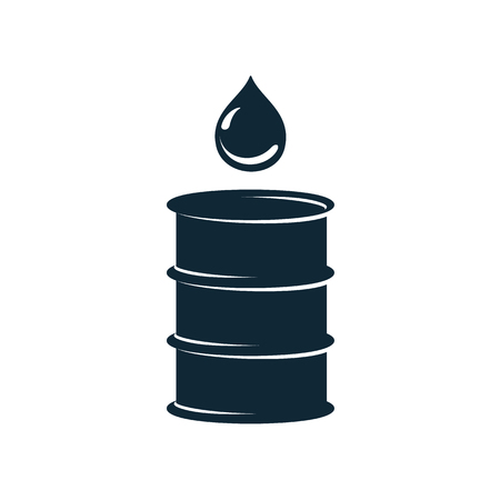 vector oil fuel barrel oil drop simple flat icon pictogram isolated on a white background. Gas oil fuel, energy power industry symbol, sign Stok Fotoğraf - 84405018