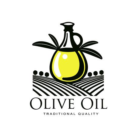 オリーブ オイル ロゴ アイコンのブランド コンセプトをベクトル ボトル、オリーブの枝を持つ。ホワイト バック グラウンド新鮮な自然食品、農業  イラスト・ベクター素材