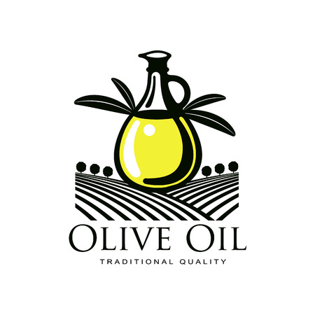 vector olive oil logo icon brand concept with bottle, olive branch. Isolated illustration on a white background Fresh natural food, agriculture and healthy eating concept