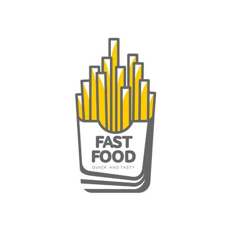 벡터 감자 튀김, 종이 상자에 감자 튀김. 흰색 배경에 평면 만화 격리 된 그림. 맛있는 패스트 푸드