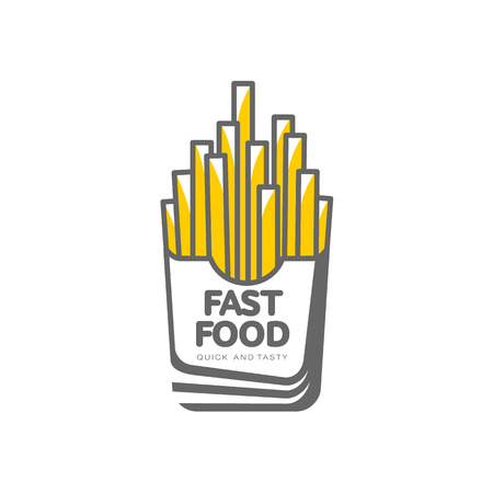Vector potato fry, french fries on paper box. Flat cartoon isolated illustration on a white background. Tasty fast food