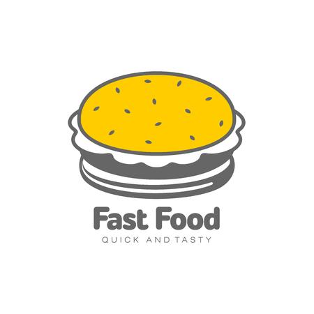 Vectorhamburger vlakke geïsoleerde illustratie op een witte achtergrond. Lekkere verse fastfood chickenburger, cheesburger met groenten. Sandwichburger in eenvoudige lijn stijlicoon