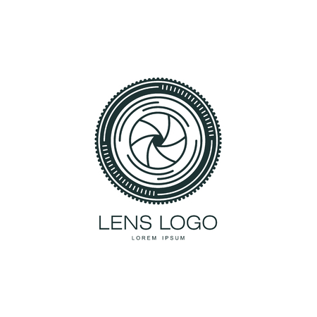 Vector photo camera lens icon. Flat cartoon isolated illustration on a white background. Logo brand concept for photo studio