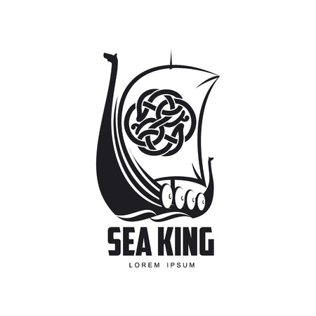 vector vikings sea king icon logo template design simple flat isolated illustration on a white background. Wooden ship with patterned sail image