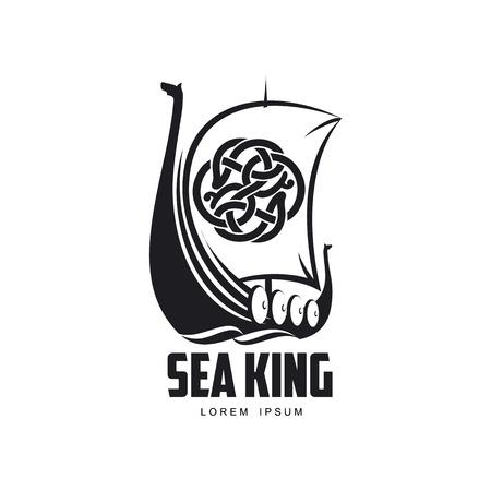 vector vikingen zee koning pictogram logo sjabloonontwerp eenvoudige platte geïsoleerde illustratie op een witte achtergrond. Houten schip met patroon zeil afbeelding