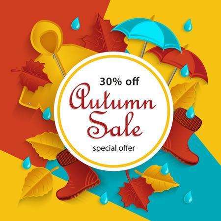 cartoon umbrella: Autumn sale, promotion banner with white round frame and fall objects raincoat, umbrella, rubber boots, leaves, flat style vector illustration. Autumn, fall sale banner with flat cartoon elements