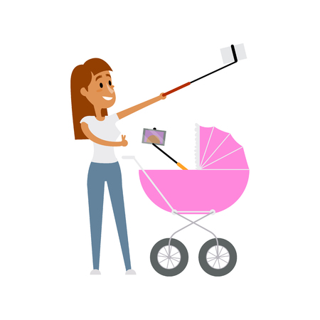 Young woman and her newborn baby in pram both making selfie with phone and monopod, cartoon vector illustration isolated on white background. Pretty young mother and baby in pram make selfie Illustration