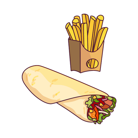 Vector doner kebab, potato fry set. Fast food flat cartoon isolated illustration on a white background. Roll shawarma with fresh vegetables and french fries in paper box Illustration