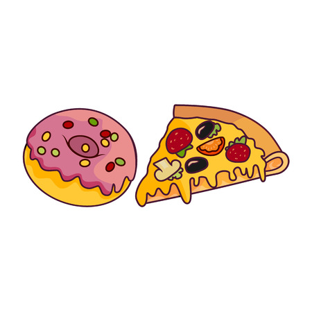 Vector donut with pink glaze icing and sprinkles, pizza slice set. Flat cartoon isolated illustration on a white background. Sweet delicious dessert food, snack, fast food